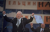 Moscow, Russia, June 1996..President Boris Yeltsin, accompanied by Mayor Yuri Luzhkov &amp; Prime Minister Viktor Chernomyrdin, addresses election rally outside the Kremlin.