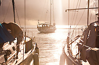 Yachts maneuvering at first light