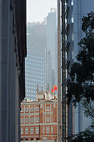 Old &amp; new: view past the modern (1980s) HSBC headquarters to the Court of Final Appeal and St John's Cathedral, with the Peak towering behind