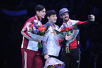 SHORT TRACK: ROTTERDAM: Ahoy, 12-03-2017, KPN ISU World Short Track Championships 2017, Podium Men 1000m, Shaoang Liu (HUN), Yi Ra Seo (KOR), Charles Hamelin (CAN), ©photo Martin de Jong