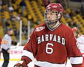 Ryan Grimshaw (Harvard - 6) - The Harvard University Crimson defeated the Boston University Terriers 5-4 in the 2011 Beanpot consolation game on Monday, February 14, 2011, at TD Garden in Boston, Massachusetts.