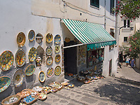 Handmade Ceramics, Street Shop, Ravello, Amalfi Coast, Campania, Italy, Europe, World Heritage Site