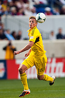 Forward Aaron Schoenfeld (18) of the Columbus Crew. The New York Red Bulls and the Columbus Crew played to a 2-2 tie during a Major League Soccer (MLS) match at Red Bull Arena in Harrison, NJ, on May 26, 2013.