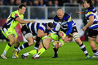 Mike Haley of Sale Sharks is tackled to ground. Aviva Premiership match, between Bath Rugby and Sale Sharks on October 7, 2016 at the Recreation Ground in Bath, England. Photo by: Patrick Khachfe / Onside Images