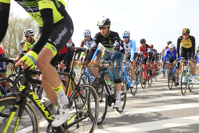 The peloton including Mark Renshaw (AUS) Team Dimension Data pass through Mater during the 60th edition of the Record Bank E3 Harelbeke 2017, Flanders, Belgium. 24th March 2017.<br /> Picture: Eoin Clarke   Cyclefile<br /> <br /> <br /> All photos usage must carry mandatory copyright credit (&copy; Cyclefile   Eoin Clarke)