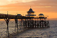 Clevedon Pier in the Severn Estuary at Sunset.