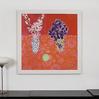 "Majoli: ""Sweet Peas"", Digital Print, Image Dims. 36"" x 36"", Framed Dims. 41"" x 41"""