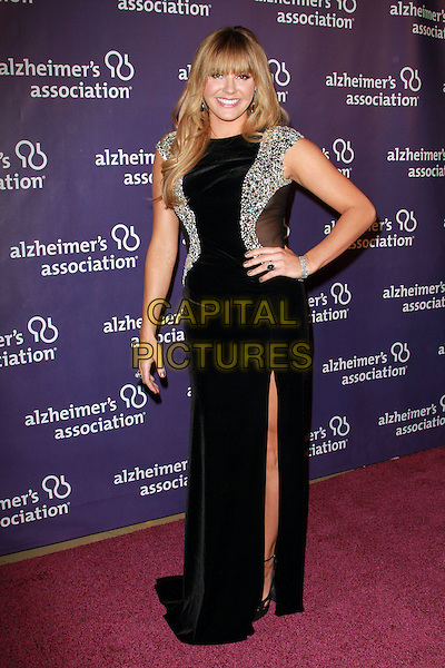 """GRACE POTTER .19th Annual """"A Night at Sardi's"""" Benefiting the Alzheimer's Association held at the Beverly Hilton Hotel, Beverly Hills, California, USA, 16th March 2011..full length black dress hand on hip long maxi slit split silver embellished mirror mirrored shiny bracelet .CAP/ADM/KB.©Kevan Brooks/AdMedia/Capital Pictures."""