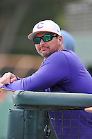 Head coach Monte Lee (18) of the Clemson Tigers watches his team during a fall intrasquad scrimmage on Sunday, October 16, 2016, at Doug Kingsmore Stadium in Clemson, South Carolina. (Tom Priddy/Four Seam Images)