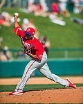 11 March 2016: Philadelphia Phillies pitcher Edubray Ramos on the mound during a Spring Training pre-season game against the Atlanta Braves at Champion Stadium in the ESPN Wide World of Sports Complex in Kissimmee, Florida. The Phillies defeated the Braves 9-2 in Grapefruit League play. Mandatory Credit: Ed Wolfstein Photo *** RAW (NEF) Image File Available ***