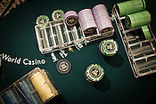 Chips of different dominations seen on the poker table at the Galaxy Macau Hotel in Macau, China.