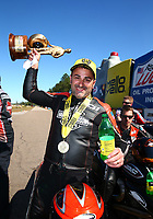 Mar 19, 2017; Gainesville , FL, USA; NHRA pro stock motorcycle rider Eddie Krawiec celebrates after defeating teammate Andrew Hines to win the Gatornationals at Gainesville Raceway. Mandatory Credit: Mark J. Rebilas-USA TODAY Sports