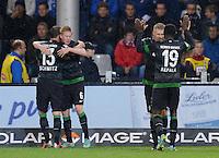 FUSSBALL   1. BUNDESLIGA   SAISON 2012/2013  5. SPIELTAG  26.09.2012 SC Freiburg - SV Werder Bremen JUBEL SV Werder Bremen; Lukas Schmitz, Kevin De Bruyne, Aaron Hunt und Joseph Akpala (v.li.)
