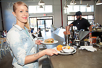Server Lisa Willoughby at  Valley Commissary in McMinnville, Oregon