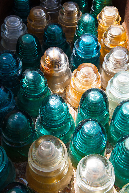 Glass insulators in the sun.
