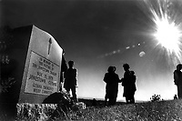 Evergreen Cemetery in Oakland, Ca Nov 18,1985 memorial service for the victims of the Jonestown tragedy Nov 18,1978. Momorial was established at the cemetery in the Oakland Hills.(photo 1985 Ron Riesterer)
