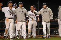 SAN ANTONIO, TX - MAY 3, 2013: The Texas State University Bobcats versus The University of Texas at San Antonio Roadrunners Baseball at Roadrunner Field. (Photo by Jeff Huehn)