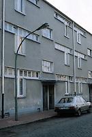 Frankfurt: Hellerhofsiedlung, north side of apartment row, 1929-30. Mart Stam.