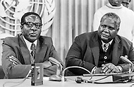14 Mar 1978 --- Prime Minister of Zimbabwe-Rhodesia Robert Mugabe and Joshua N'Komo, President of the Zimbabwe African People's Union (ZAPU) during a UN conference on Rhodesia. Zimbabwe-Rhodesia was the official name of Zimbabwe between 1st June and 12 December 1979. --- Image by © JP Laffont