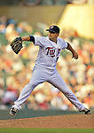 29 September 2012: Minnesota Twins pitcher Brian Duensing in action against the Detroit Tigers at Target Field in Minneapolis, MN. The Tigers defeated the Twins 6-4 in the second game of their 3-game series. Mandatory Credit: Ed Wolfstein Photo