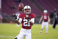 Stanford, CA - November 26, 2016: Isaiah Brandt-Sims warms up before the Stanford vs Rice game Saturday at Stanford Stadium.<br /> <br /> Stanford won 41- 17.