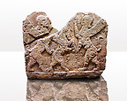 Picture of a Neo-Hittite orthostat describing the legend of Gilgamesh from Karkamis, Turkey. Ancora Archaeological Museum. Mythological Scene of 2 Spinxes standing on their back legs either side of a winged horse which is also standing on its rear legs. 4