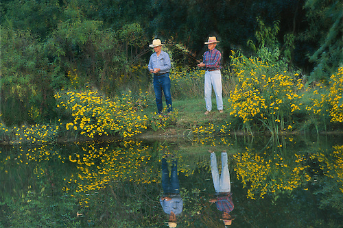 Two men lake fishing surounded by summer blooms