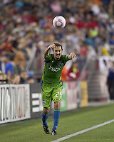 Seattle Sounders forward Roger Levesque (24). In a Major League Soccer (MLS) match, the Seattle Sounders FC defeated the New England Revolution, 2-1, at Gillette Stadium on October 1, 2011.