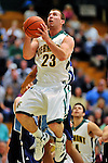 16 January 2012: University of Vermont Vermont Catamount forward Brian Voelkel, a Sophomore from Pleasantville, NY, in action against the University of Maine Black Bears at Patrick Gymnasium in Burlington, Vermont. The Catamounts defeated the Black Bears 79-65 notching their 10th win of the season. Mandatory Credit: Ed Wolfstein Photo