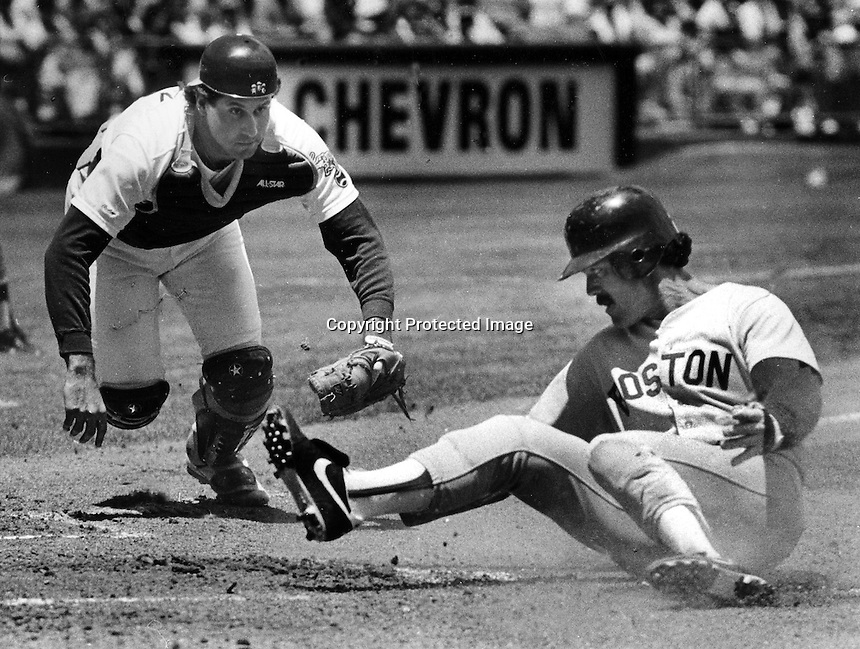 Oakland Athletics catcher Ron Hassey tags out Boston Red Sox runner Dwight Evans. (1988 photo by Ron Riesterer)