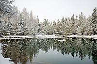 Fresh snow and a beautiful morning at Big Springs (Kitch-iti-kipi). Thompson, MI