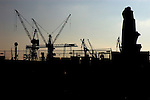 Cranes silhouetted against morning light. Hamburg docks, Germany.