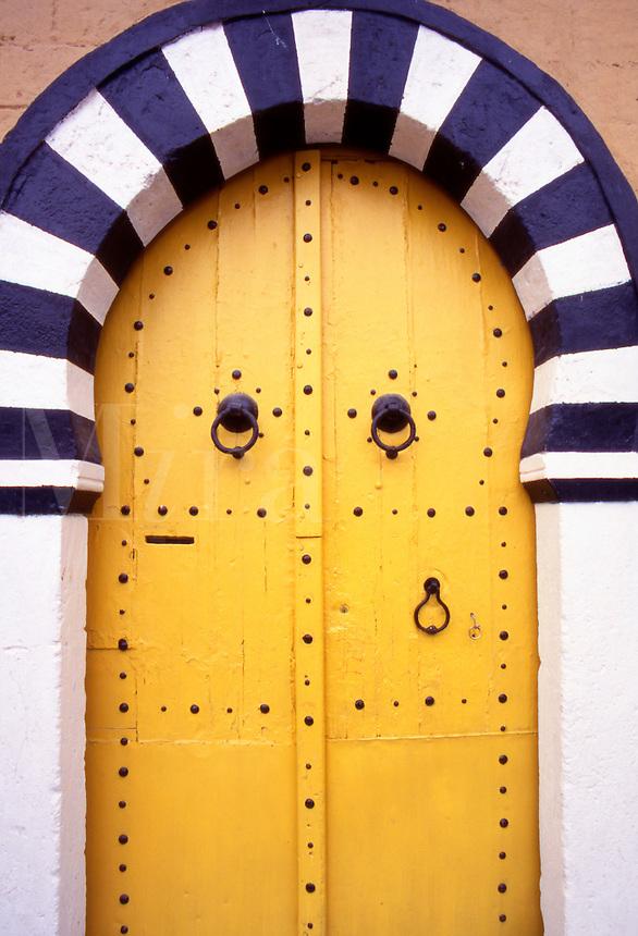 Tunisia. Traditional Doors in Sidi Bou Said Village, near Tunis