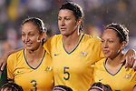 27 April 2008: Karla Reuter (AUS) (3), Cheryl Salisbury (AUS) (5), and Kyah Simon (AUS) (r). The United States Women's National Team defeated the Australia Women's National Team 3-2 at WakeMed Stadium in Cary, NC in a rain delayed women's international friendly soccer match.