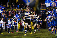 Stuart Hooper of Bath Rugby leads his team out onto the field on the occasion of his 200th Premiership appearance. Aviva Premiership match, between Bath Rugby and Newcastle Falcons on March 18, 2016 at the Recreation Ground in Bath, England. Photo by: Patrick Khachfe / Onside Images