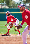 13 March 2014: Washington Nationals infielder Jeff Kobernus in action during a Spring Training game against the New York Mets at Space Coast Stadium in Viera, Florida. The Mets defeated the Nationals 7-5 in Grapefruit League play. Mandatory Credit: Ed Wolfstein Photo *** RAW (NEF) Image File Available ***