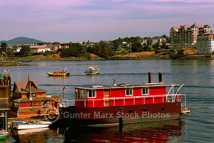 """Floating Houses in a Floating Home Community at """"Fisherman's Wharf"""" in Victoria Harbour, Victoria, British Columbia, Canada, in Summer"""