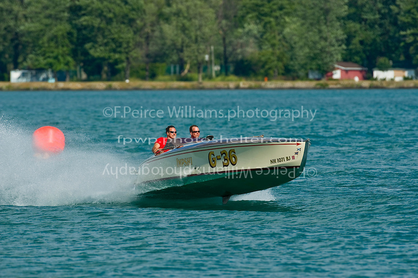 """8-10 August 2008  Algonac, MI USA.The classic Gold Cup class boat """"Impshi"""" goes for a run on the river Friday afternoon..©F.Peirce Williams 2008"""