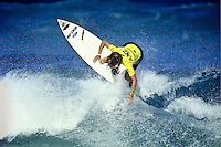 1990 Women's  World Professional Surfing Champion PAM BURRIDGE (AUS) competing at the Newcastle City Pro. circa1995.  Photo:joliphotos.com