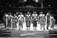 Young Rikishi Sumo wrestlers parade with their gowns during the closing ceremony..450 children, aged between 11-14, qualified for  the All Japan Wanpaku Sumo Tournament. The  Ryogoku Kokugikan Stadium, Tokyo, Japan.