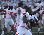 Jacksonville State linebacker Rashad Smith (51)  celebrates win at Vaught-Hemingway Stadium in Oxford, Miss. on Saturday, September 4, 2010. Jacksonville State won 49-48 in double overtime.