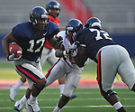 Ole Miss' Jamal Mosley (17) catches a pass during a team scrimmage at Vaught-Hemingway Stadium in Oxford, Miss. on Saturday, August 20, 2011.