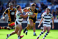 Josh Bassett of Wasps takes on the Yorkshire Carnegie defence. Pre-season friendly match, between Wasps and Yorkshire Carnegie on August 21, 2016 at the Ricoh Arena in Coventry, England. Photo by: Patrick Khachfe / JMP
