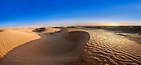 The Sahara desert sand dunes of Erg Oriental near the oasis of Ksar Ghilane, Tunisia, Africa