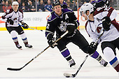 Matt Greene (Los Angeles Kings, #2) chasing Mijan Hejduk (Colorado Avalanche, #23) during ice-hockey match between Los Angeles Kings and Colorado Avalanche in NHL league, February 26, 2011 at Staples Center, Los Angeles, USA. (Photo By Matic Klansek Velej / Sportida.com)