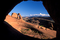 Delicate Arch as seen through Frame Arch, Arches National Park, near Moab, Utah