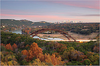With trees seemingly on fire with Autumn color, this image taken from just above the iconic 360 Bridge shows the beautiful beginnings of the Texas Hill Country with the skyline of Austin, Texas, in the distance. Taken on a cool late November evening, this location is one of my favorites in which to photograph this landscape.