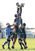 Fletcher of Old Cooperians take the ball at a line-out - Old Cooperians RFC vs Old Brentwoods RFC - Essex Rugby League at Coopers Coborn School, Upminster - 30/01/10 - MANDATORY CREDIT: Gavin Ellis/TGSPHOTO - Self billing applies where appropriate - Tel: 0845 094 6026