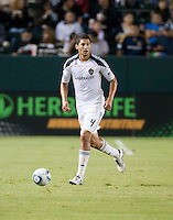 CARSON, CA – SEPTEMBER 18:  LA Galaxy defender Omar Gonzalez (4) during a soccer match at Home Depot Center, September 18, 2010 in Carson California. Final score LA Galaxy 2, DC United 1.