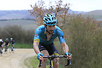 Oscar Gatto (ITA) Astana on gravel sector 8 Monte Santa Maria during the 2017 Strade Bianche running 175km from Siena to Siena, Tuscany, Italy 4th March 2017.<br /> Picture: Eoin Clarke | Newsfile<br /> <br /> <br /> All photos usage must carry mandatory copyright credit (&copy; Newsfile | Eoin Clarke)